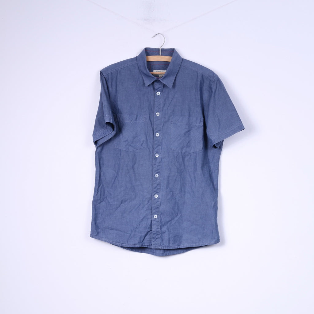 Etirel Campus Sportswear Mens M Casual Shirt Blue Top Cotton