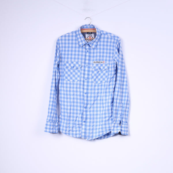 White Fish Boys 170/176 14-15 Age Casual Shirt Check Blue Long Sleeve Top Dognose