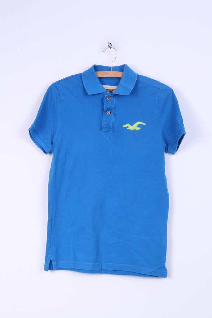 Hollister Mens M Polo Shirt Blue Cotton Detailed Buttons Slim Fit Top