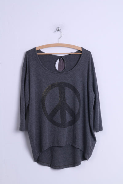 Select Womens 12 40 L Shirt Grey Cotton Graphic peace 3/4 Sleeve Top Back Tape
