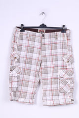 Sublevel Mens 32 Cargo Shorts Check Cotton White