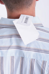 New Mens Classic Mens 52 XL Casual Shirt Short Sleeve Striped Blue Cotton - RetrospectClothes