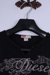 Diesel Girls 16 Age Shirt Black Cotton Logo V Neck Slim Fit Top