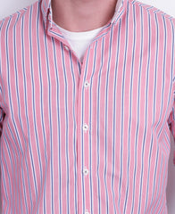 Dahlin Mens M Casual Shirt Striped Red Buttons Down Long Sleeve - RetrospectClothes