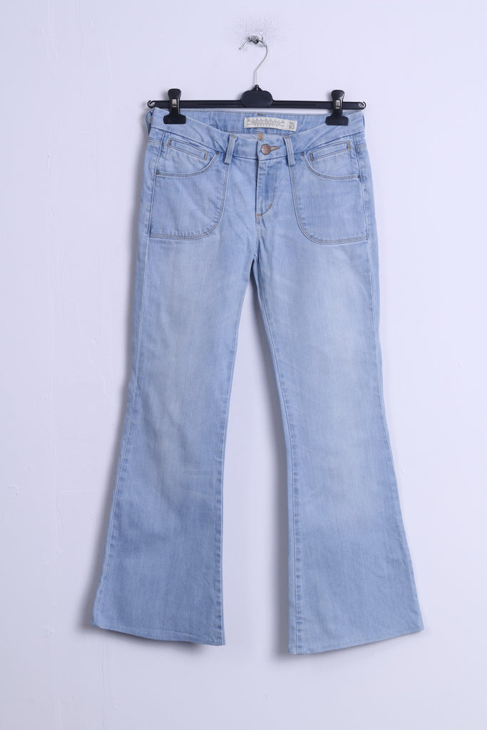 ZARA Woman Womens 36 26 Trousers Blue Jeans Cotton Bell Boot Cut Pants