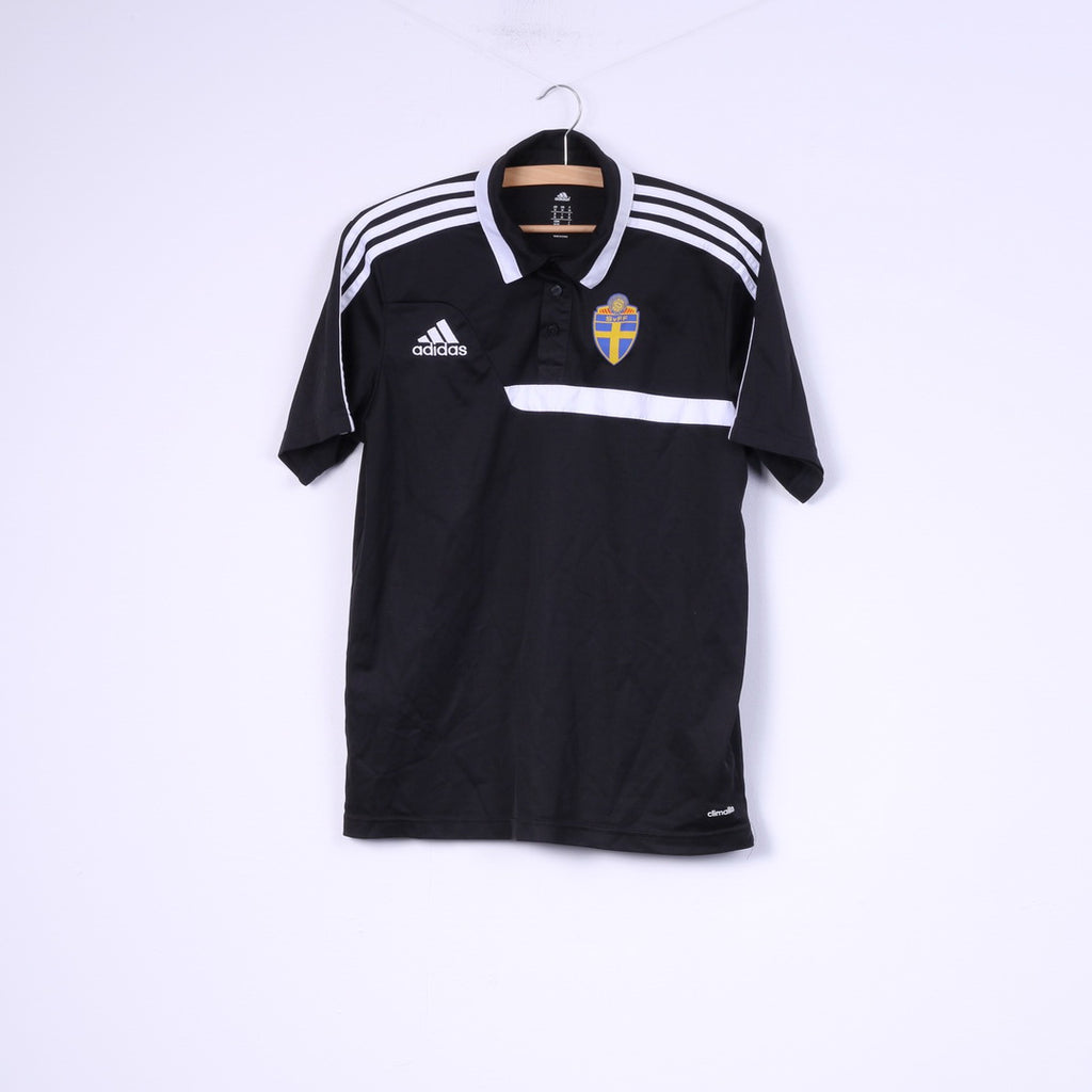 Adidas Svenska Fotbollförbundet Mens M Polo Shirt Sportswear Top Football Club Black