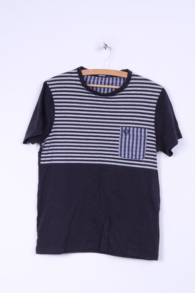 Fred Perry Mens M (S) Shirt Navy Striped Cotton Crew Neck Marine