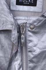 Hucke Berlin Womens 16 XL Lightweight Jacket Silver Shiny Full Zipper Patches