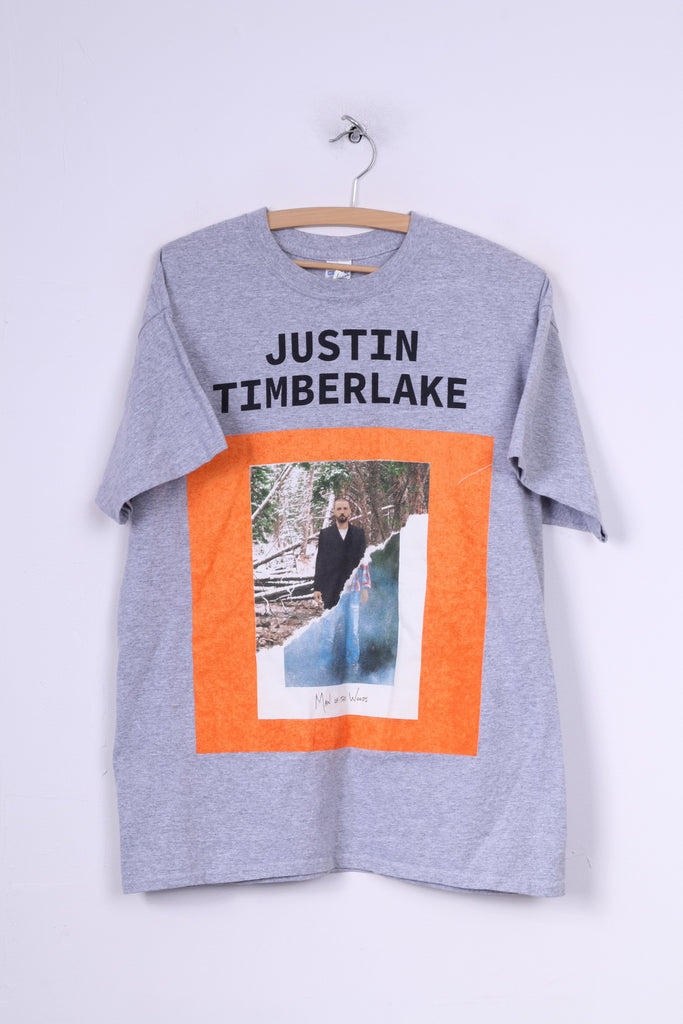 Gildan Heavy Cotton Justin Timberlake Mens L T-Shirt Graphic Grey Cotton Summer Top Hmv