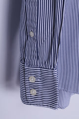 TM Lewin Mens 15.5 34.5 S Casual Shirt Blue Cotton Striped Long Sleeve