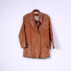 Hollies Womens 38 M Leather Jacket Double Breasted Suede Camel Vintage Great Look