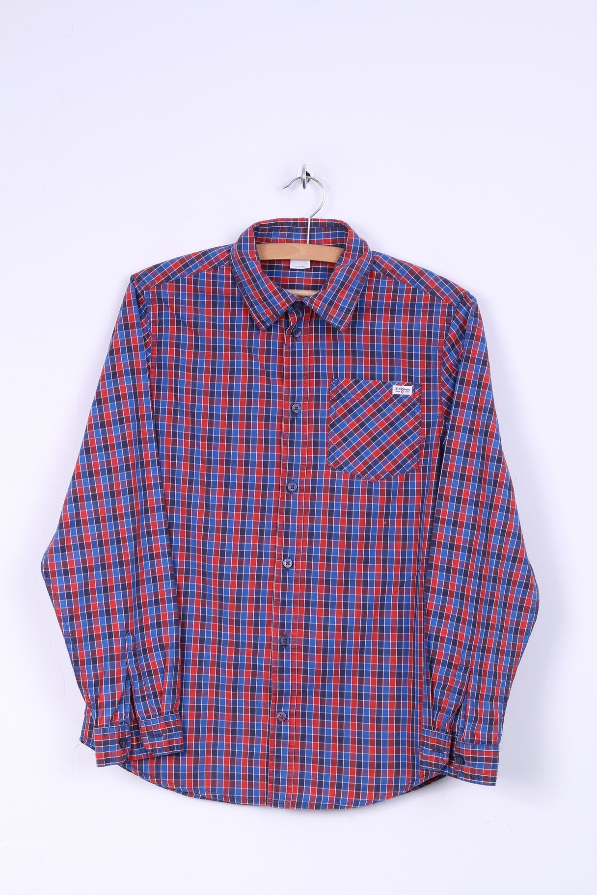 latest fashion clearance prices new images of S. Oliver Boys L 164 Casual Shirt Blue Red Cotton Checkered Long Sleeve