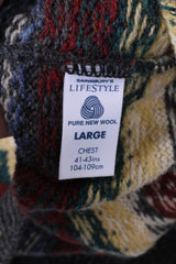 Sainsbury's Lifestyle Mens L Jumper Pure Wool Grey Warm Printed Sweater
