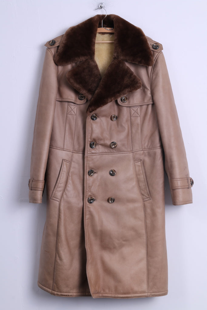 Womens L Coat Beige Leather Fur Buttoned Sheep Lined Warm Long belted Winter Coat