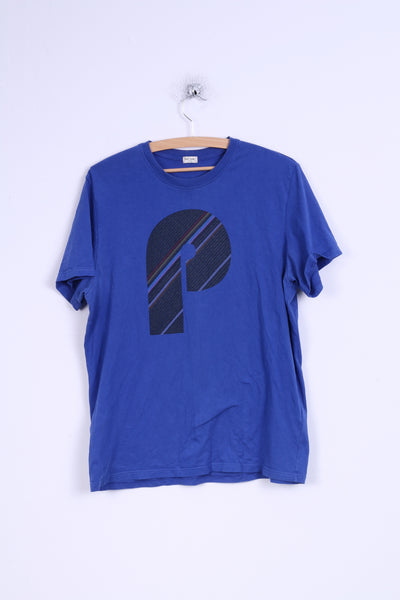 Paul Smith Mens L (S) T- Shirt Blue Graphic  Cotton Crew Neck