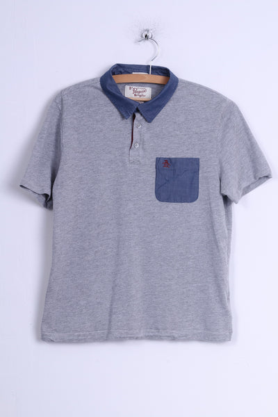 Penguin Mens M (S) Polo Shirt Grey Cotton Blue CollarShort Sleeve