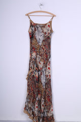 C&A Womens 14 L Long Dress Multi Printed Brown Flounce Spaghetti Straps Brown