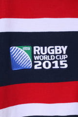 Rugby World Cup 2015 Mens XL Polo Shirt Navy Striped Cotton Blue Striped Detailed Buttons