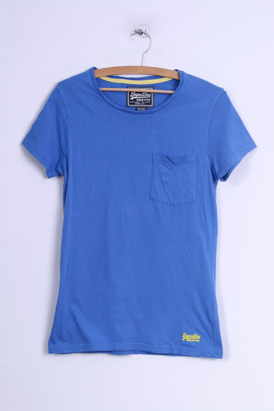 Superdry Womens S T-Shirt Blue Cotton Crew Neck Shirt Top Sport