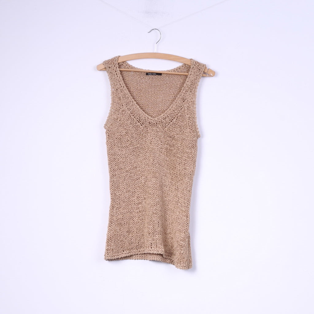 Marc Aurel Womens M Knit Vest Sleeveless V Neck Beige Top