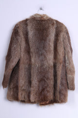 Womens M Coat Authentic Fur Brown Boho Vintage Nutria Buttoned Jacket