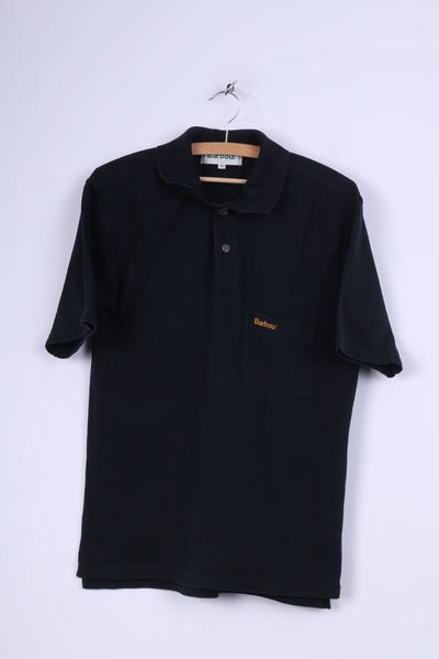 Barbour Mens M Polo Shirt Black Cotton Casual Plain Top