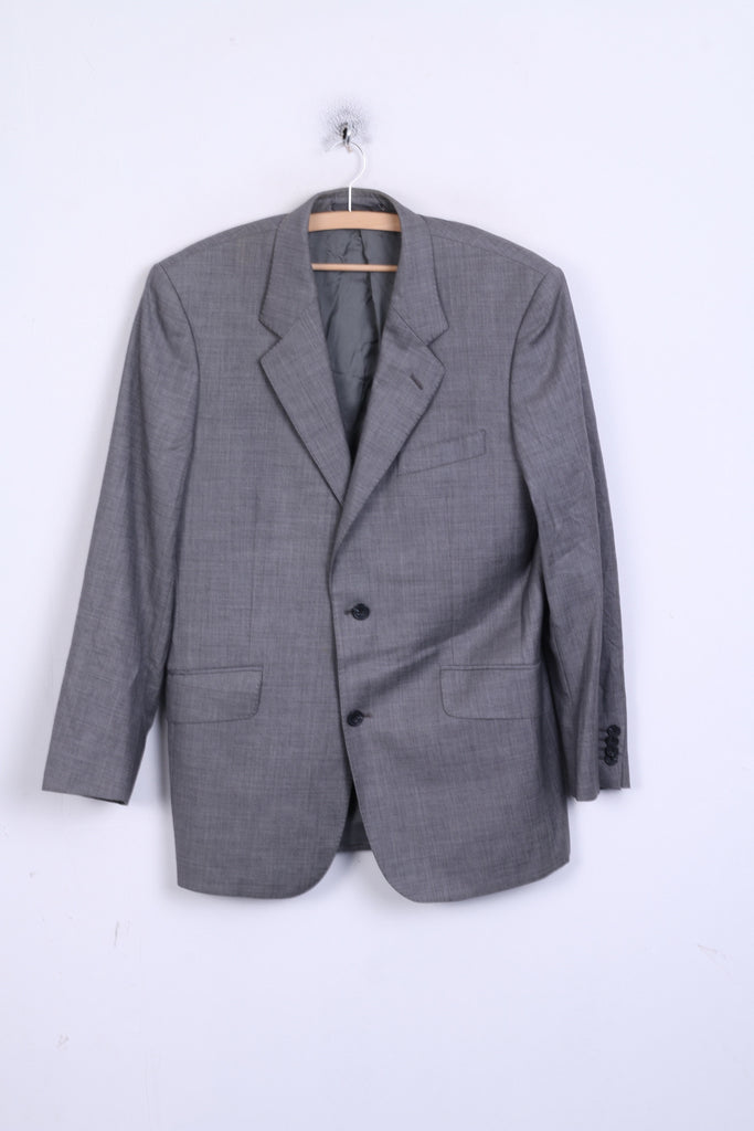T.M. Lewin Mens 41M Blazer Suit Top Gray Jacket Tailoring Wool Single Breasted