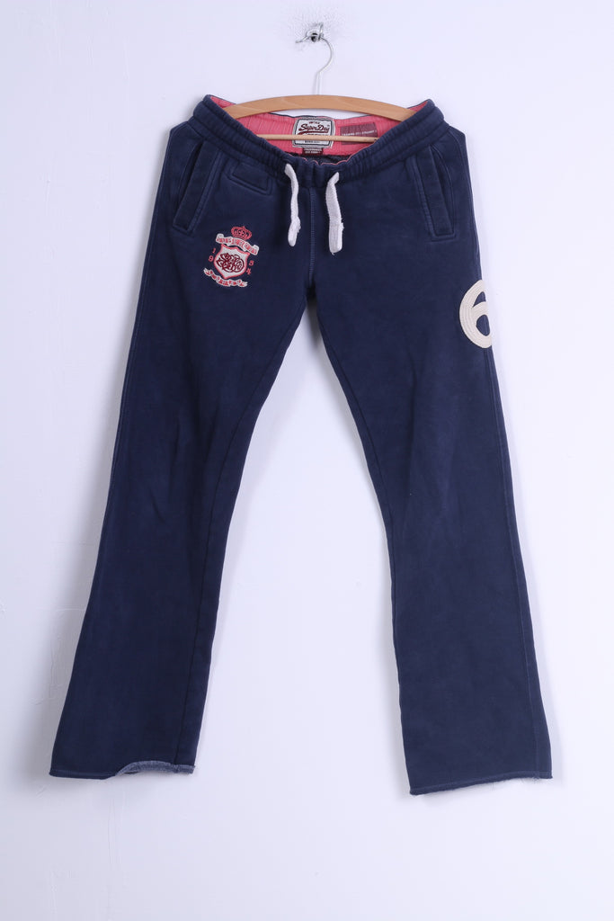 Superdry Womens XS Sweatpants Navy CottonTraining Fit Straight Pants