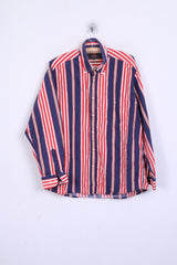 TOGGERY Mens XL Casual Shirt Striped Button Down Collar Multi