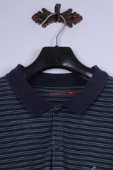 Levi Strauss & Co Mens L Polo Shirt Navy Striped Long Sleeve Classic Levi's Top