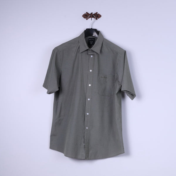 James Pringle Mens L Casual Shirt Green Check Detailed Buttons Short Sleeve Top