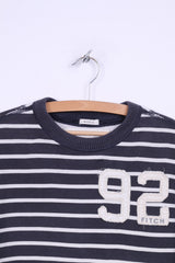 Abercrombie & Fitch Mens XL (M) Long Sleeve Shirt Navy Cotton Striped Muscle Fit Top
