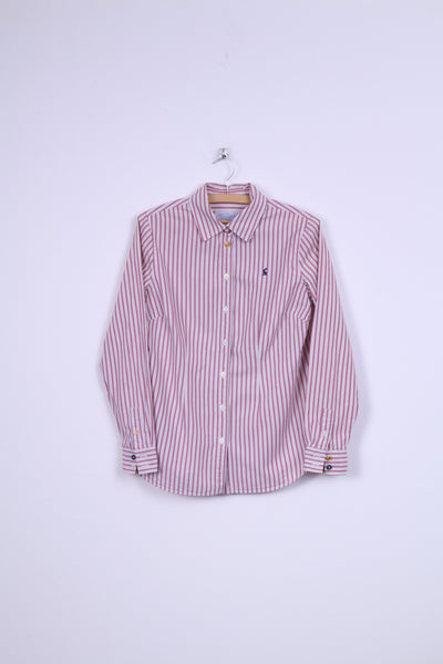 Joules Superduper Womens 6 S Casual Shirt Pink Striped Cotton Long Sleeve