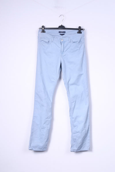 Gant Mens W31 L32 Trousers Normal Waist Regular Fit Straight Leg Cotton Light Blue