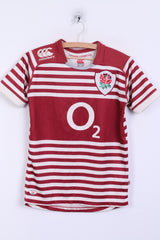 Canterbury England Boys 12Yrs Shirt National Rugby Union Team Striped - RetrospectClothes