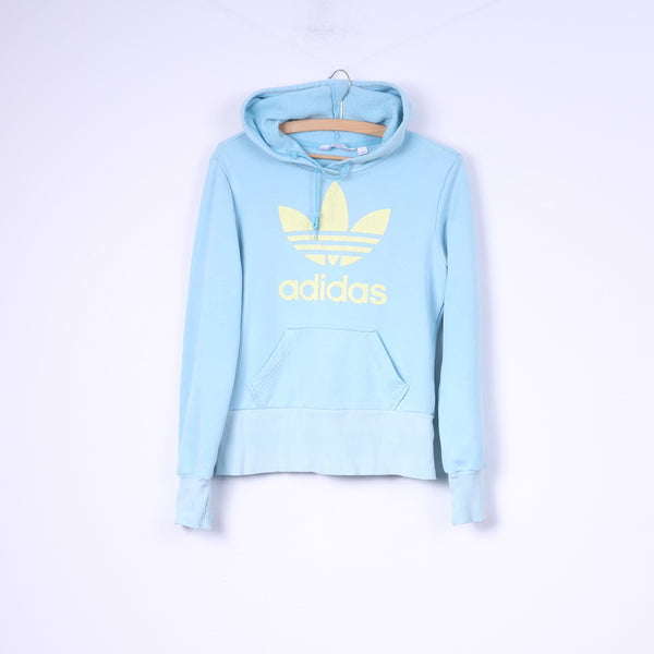 Adidas Womens 14 M Sweatshirt Hooded Light Blue Yellow Logo Sportswear Top