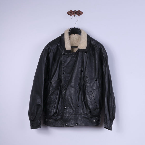 Vintage Mens L Bomber Jacket Black leather Sherling Lined Snaps Biker Top