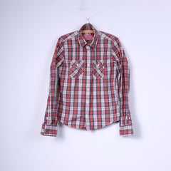 Superdry Mens M Casual Shirt Check Red Long Sleeve Top Cotton