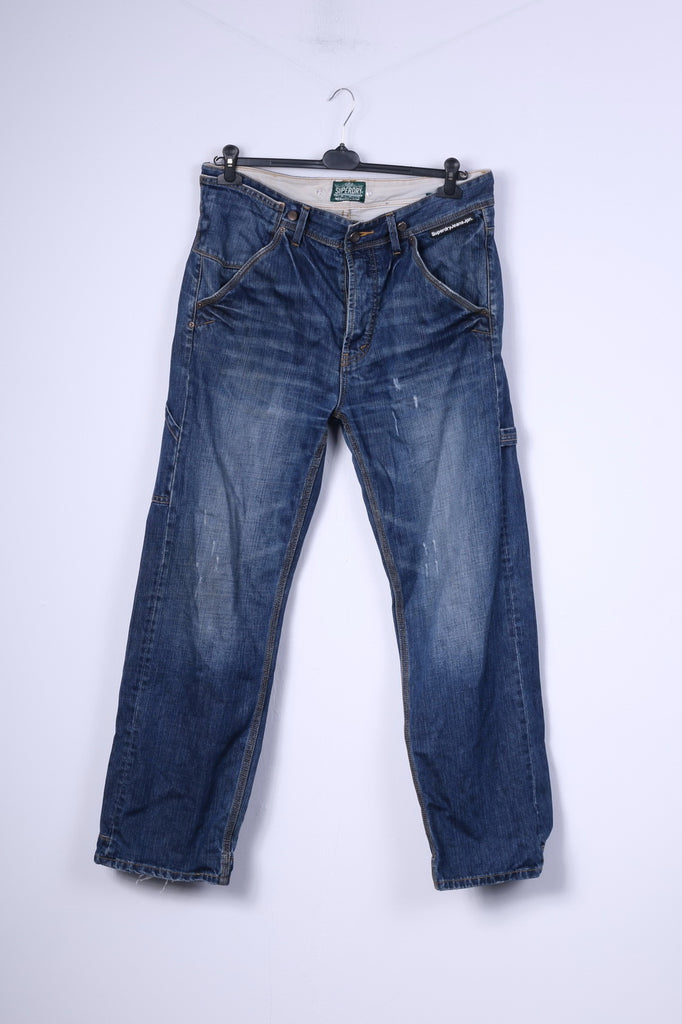 Superdry Mens W36 L32 Trousers Denim Jeans Navy Cotton Japan Pants