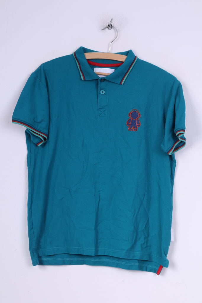 Humor Mens XL (M)Polo Shirt Turquoise Short Sleeeve Cotton Summer Top