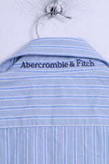 Abercrombie & Fitch Mens M Casual Shirt Blue Striped Cotton Long Sleeve Muscle