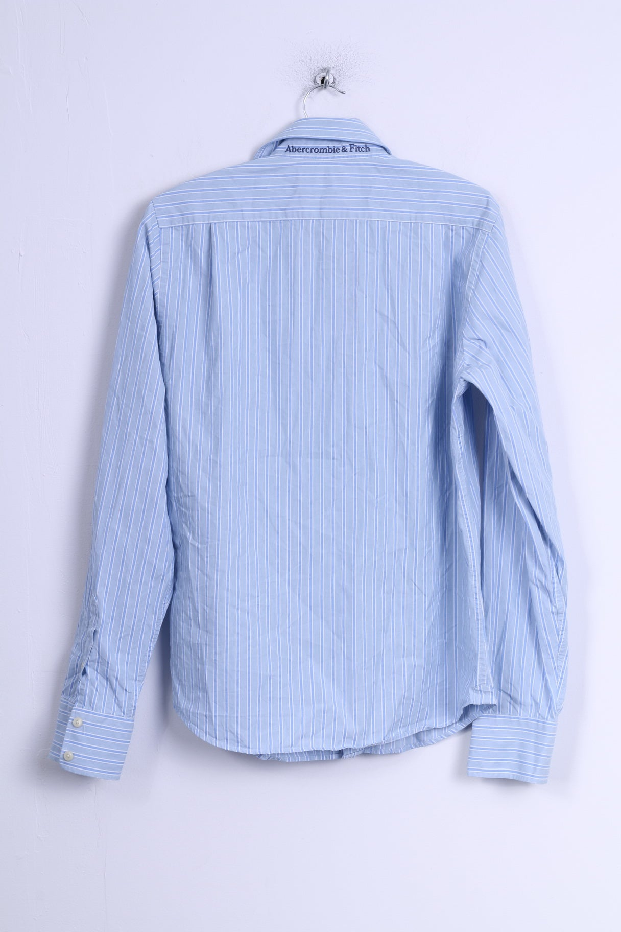 Abercrombie fitch mens m casual shirt blue striped for Mens long sleeve casual cotton shirts