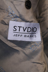 Studio Jeff Banks Mens 52 42inch Blazer Brown Striped Viscose Single Breasted Jacket