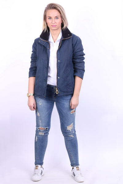 P.G. Field Womens 10 M Jacket Navy Harrington Jacket Cotton Padded - RetrospectClothes