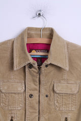 Hollister California Womens S Jacket Tan Cropped Zip Up Fittted Cotton Top
