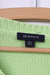 Gant Womens L Jumper Neon Green Sweater V Neck Cotton Top