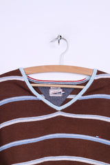 Hilfiger Denim Mens XL (L) Jumper Brown Striped V Neck Linen Cotton Blend Light Sweater