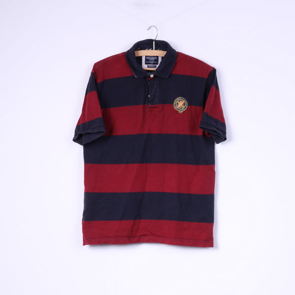 Hackett London Mens L (M) Polo Shirt Striped Navy Red Tailored Fit Cotton Top