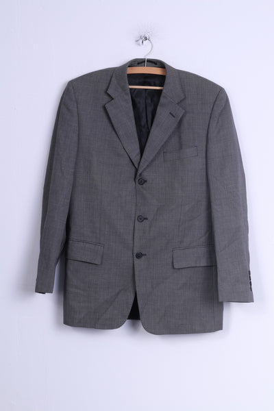 Jaeger Mens 38 S Jacket Grey Dots Wool Shoulder Pads Single Breasted Blazer