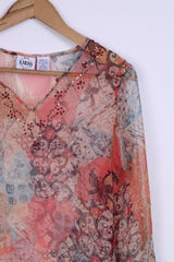 B.MOSS Womens S Shirt Long Sleeve C-thru Transparent Boho Vintage